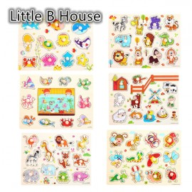 image of [Little B House] 1 Set 6 pcs Preschool Educational Wooden Puzzle Wooden Toy - Animal & Insect -BKM37..