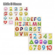 image of [Little B House] 1 Set 3 pcs Preschool Educational Wood Puzzle - Alphabet & Mathematics -BKM38-A
