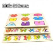 image of [Little B House] 1 Set 3 pcs Preschool Educational Wood Puzzle - Alphabet & Mathematics -BKM38-B