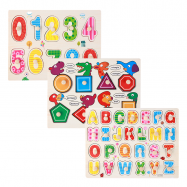 image of [Little B House] 1 Set 3 pcs Preschool Educational Wood Puzzle - Alphabet & Mathematics -BKM38-C