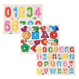 image of [Little B House] 1 Set 3 pcs Preschool Educational Wood Puzzle - Alphabet & Mathematics -BKM38-C