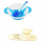 image of Baby Food Supplement Temperature Sensor Sucker Bowl Cum Baby Food Making Set -BKM14+yphb-Y26503