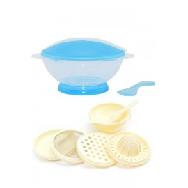 image of Translucent Portable Baby Training Bowl Feeding Set Cum Baby Food Making Set -BKM15+yphb-Y26503