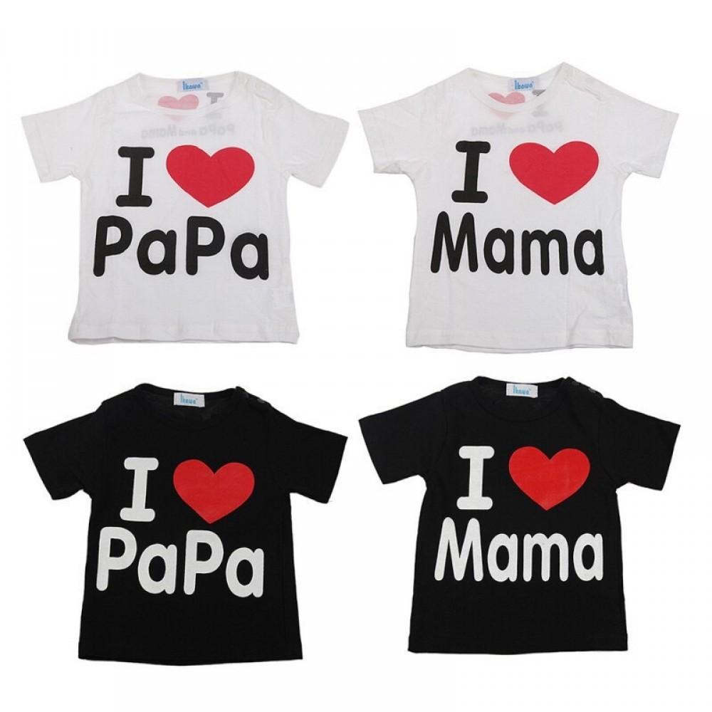 [Little B House] I Love Mama and Papa Stunning Cotton T-shirt for Kids Boy Girls -KF01