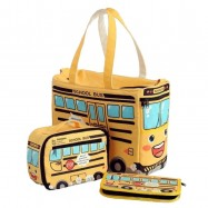 image of 3-in-1 Set Yellow School Bus Series Cute Multifunction Mummy Bag  -MMB