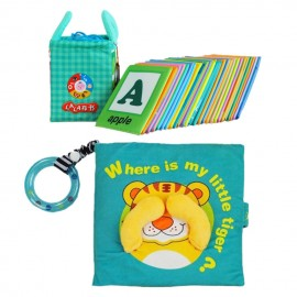 image of Cloth Book - Where Is My Little Tiger Cum Cloth Alphabet Learning Card 0-3 years old -BT02 +BKM01