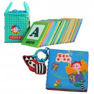 image of Cloth Alphabet Learning Card 0-3 years old Cum Cloth Book - Baby's First Book 0-3 years old -BKM01+BKM06