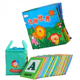 image of Cloth Alphabet Learning Card 0-3 years old Cum Cloth Book - Animals World 0-3 years old -BKM01+BKM03