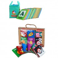 image of Cloth Alphabet Learning Card 0-3 years old Cum 6 Mini Cloth Books -BKM01+BKM02