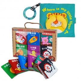 image of Cloth Book - Where Is My Little Tiger Cum 6 Mini Cloth Books  -BT02+BKM02