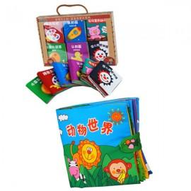 image of 6 Mini Cloth Books Cum Cloth Book Animals World 0-3 years old -BKM02+BKM03