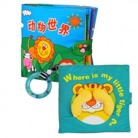 image of Cloth Book - Where Is My Little Tiger Cum Cloth Book - Animals World 0-3 years old -BT02+BKM03