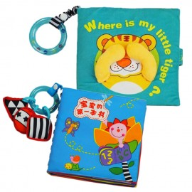 image of Cloth Book - Where Is My Little Tiger Cum Cloth Book - Baby's First Book 0-3 years old -BT02+BKM06