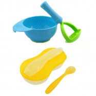 image of New Peanut Shape Feeding Bowl With Spoon Cum Baby Food Fruits Supplement Grinding Tool & Bowl -BKM16+BKM13