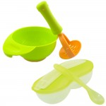 New Peanut Shape Feeding Bowl With Spoon Cum Baby Food Fruits Supplement Grinding Tool & Bowl -BKM16+BKM13