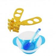 image of Baby Food Supplement Temperature Sensor Sucker Bowl Cum Multifunctional Baby Food Scissors -BKM14+AP1305