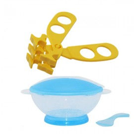 image of Translucent Portable Baby Training Bowl Feeding Set Cum Multifunctional Baby Food Scissors -BKM15+AP1305