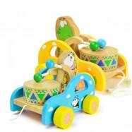 image of [Little B House] Educational Wooden Frog or Bear Hitting Drum Walker Developmental Toy - BT172