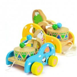 image of [Little B House] Educational Wooden Frog or Bear Hitting Drum Walker Developmental Toy - BT172