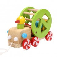 image of [Little B House] Pull along Walking Wooden Block Duck Pull Cart Educational Toys - BT173