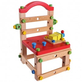 image of [Little B House] Wooden Multi-Purpose Work Chair Wood Blocks Building Toys - BT139