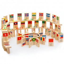 image of [Little B House] Wooden 100Pcs National Flag of Dominoes Geography Educational Domino Block Toys - BT144