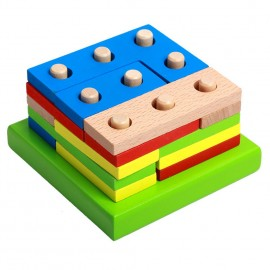 image of [Little B House] Wooden Building Block Geometry Column Color Shape Toys - BT148