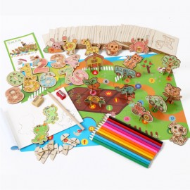 image of [Little B House] Wooden DIY 3D Puzzle Painting Farm Animal Number Toys Set - BT153