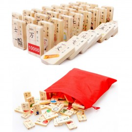 image of [Little B House] 100pcs Wooden Rounded Corners New Chinese Characters Domino - BT155