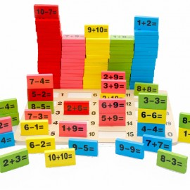 image of [Little B House] 110pcs Domino Blocks Mathematics Of Domino Kids Wooden Toys Addition And Subtractio..
