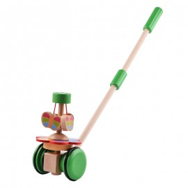 image of [Little B House] Wooden Pull Rotating Animal Butterfly Wheel Car Walker Toys - BT160