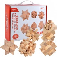 image of [Little B House] Wooden Boutique Luban Lock Kong Ming Suo Magic Cube Intellectual Puzzle Brain Teaser - BT162