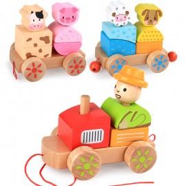 image of [Little B House] 3 Sections Wooden Block Cute Animals Farm Train Set  - BT163