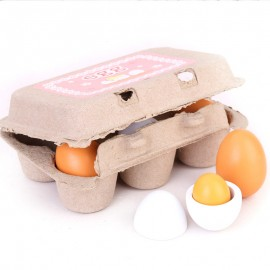 image of [Little B House] Wood Egg Toys 3 Pairs Two-color Artificial Nest Wooden Fake Eggs Children Play Food Kitchen Game Toy - BT164