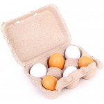 [Little B House] Wood Egg Toys 3 Pairs Two-color Artificial Nest Wooden Fake Eggs Children Play Food Kitchen Game Toy - BT164