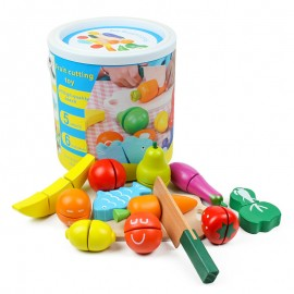 image of [Little B House] Fruit and Vegetable Cutting Wooden Toy Play Set -BT14