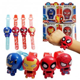 image of [Little B House] Cartoon Transform Iron Man Spiderman Captain America Digital Children's Watch - BT182