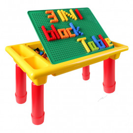 image of [Little B House] Creative Brick Foldable Table with 200pcs Blocks -BT178