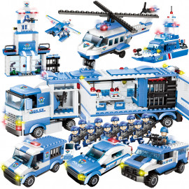 image of [Little B House]City Police Mobile Command Center Helicopter 8 in 1 Blocks-BT184