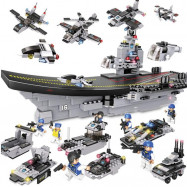 image of [Little B House] Military Ship Air-crafted Carrier Blocks Educational 8 in 1 Building Blocks - BT185