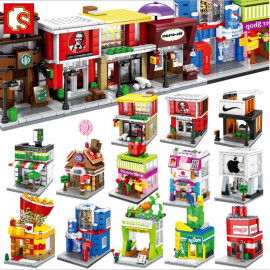 image of [Little B House] Mini Store DIY Building Bricks Micro street Shop Educational Kids Toys - BT186