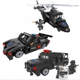 image of [Little B House] Helicopter Truck Armored Car SWAT Police With Weapon Series Building Block Brick Educational Toys - BT187