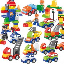image of [Little B House] City Police Traffic Car Big Size Building Blocks - BT189