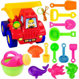 image of [Little B House] 14Pcs Plastic Beach Toy Set Shovels Rakes Watering Pot-BT190