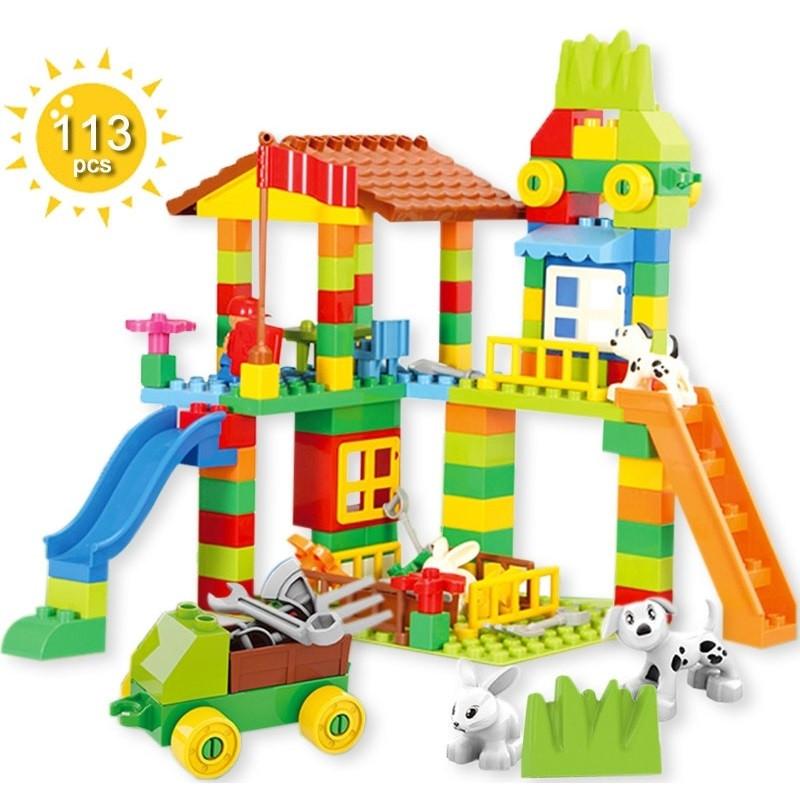 image of [Little B House] 113pcs / 226pcs Big Size Building Blocks Town House Farm -BT191