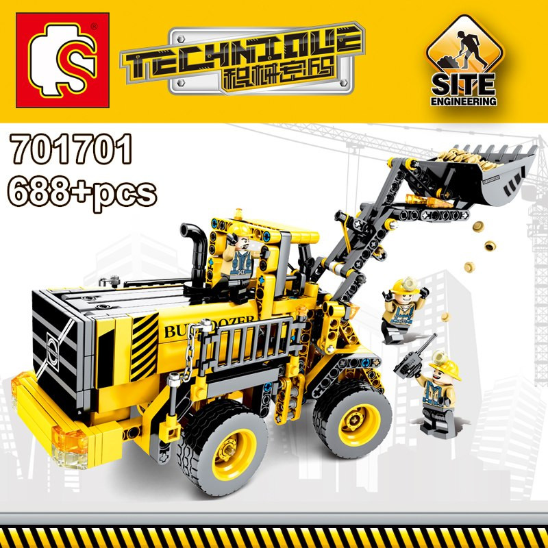 image of [Little B House] 688pcs DIY Building Blocks Technique Series Excavator Wheel Loader - BT194
