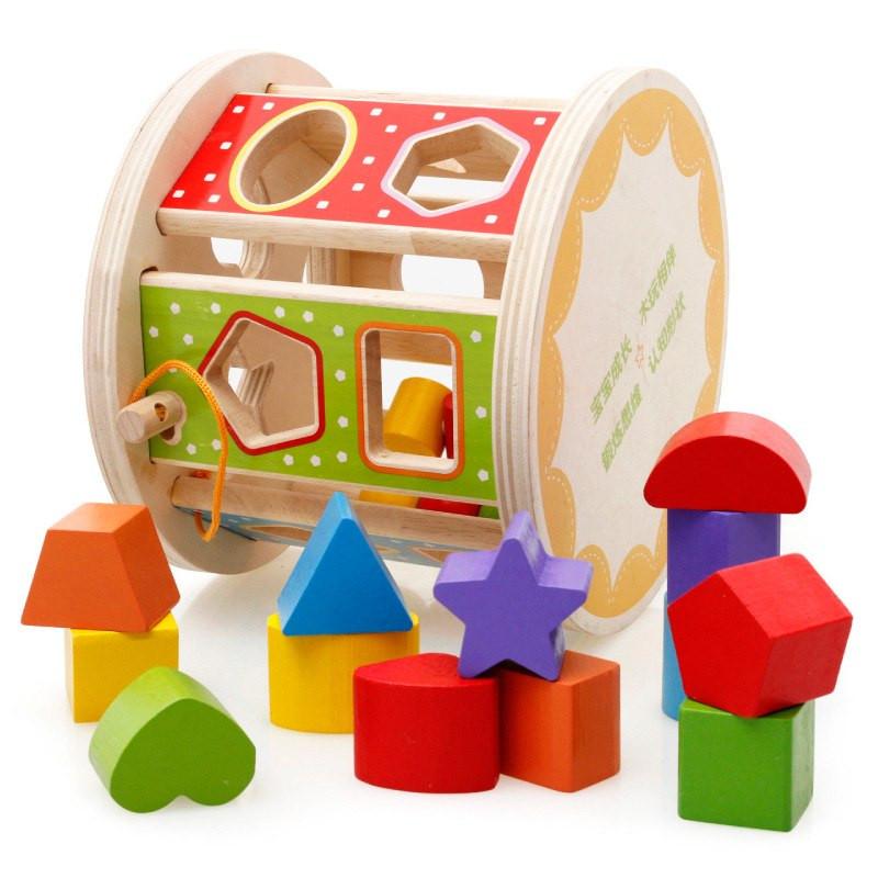 image of [Little B House] Wooden Building Blocks Children's Toy Shape Matching Multi-Function Intelligence Bo..