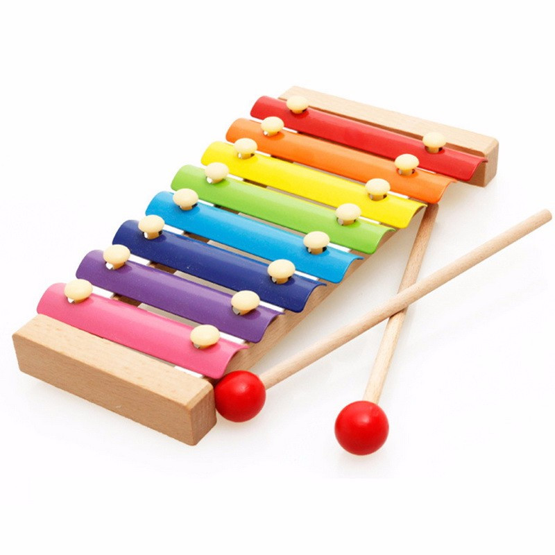 image of [Little B House] Colorful 8 Different Tones Hand Knock Wood Piano - BT199