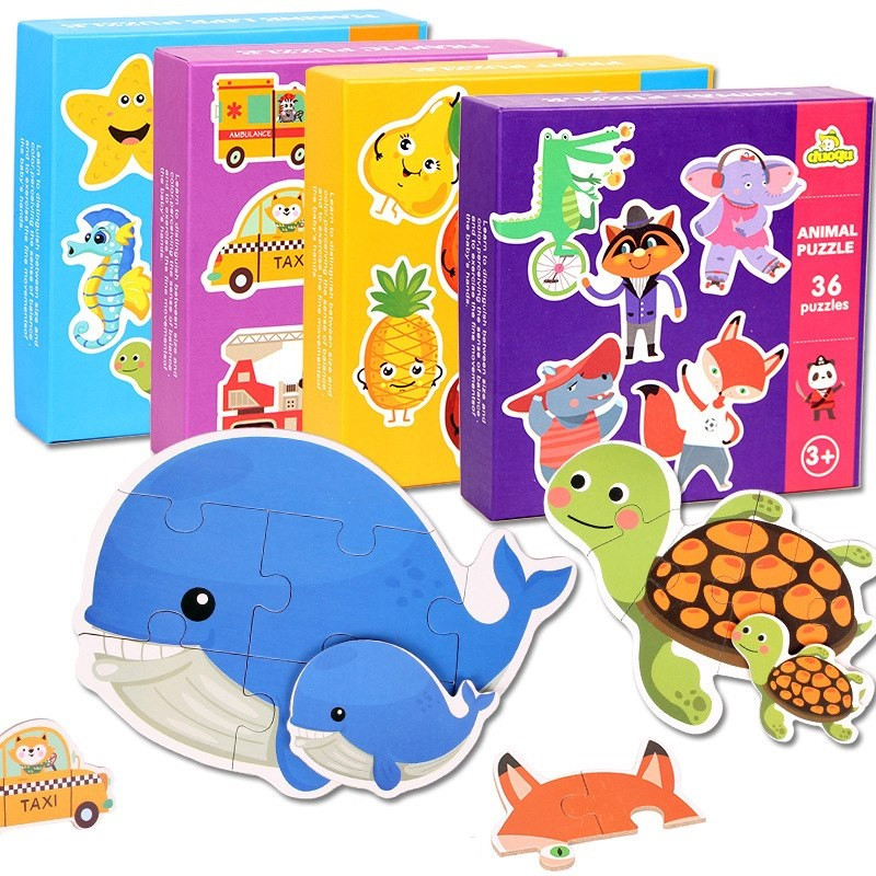 image of [Little B House] Baby Wooden Puzzle Jigsaw Ocean Fruits Transport Animals Educational Toys - BT200