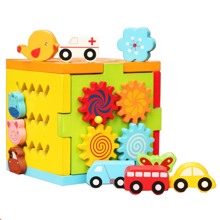 image of [Little B House] Baby Wooden Multi-Functional Intelligence Box Blocks With Vehicle Animal - BT201